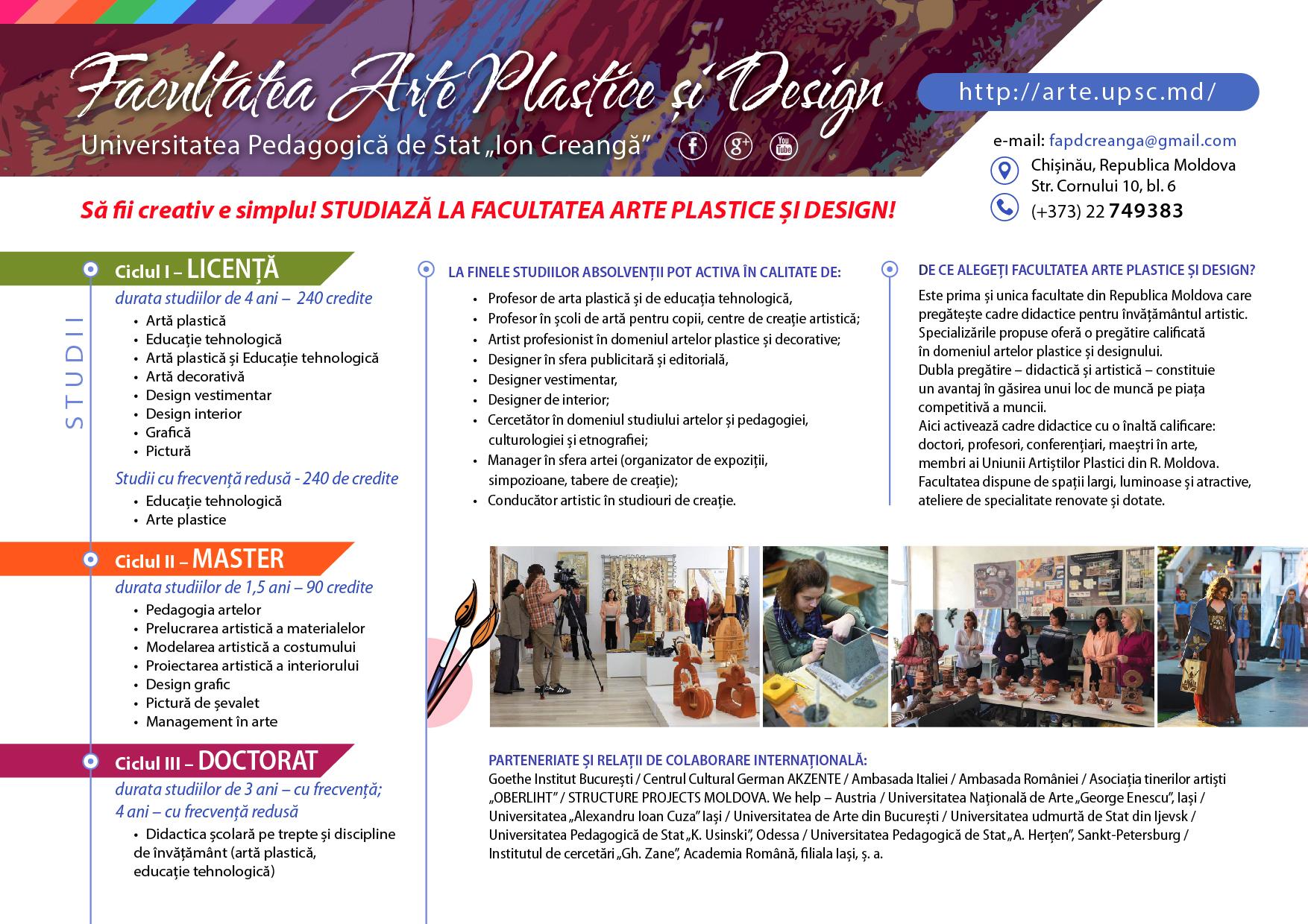 """Facultatea Arte Plastice și Design UPS """"I. Creangă"""" 2017"""